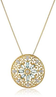 18k Yellow Gold Plated Sterling Silver Genuine Sky Topaz and Diamond Accent Filigree Mandala Pendant Necklace