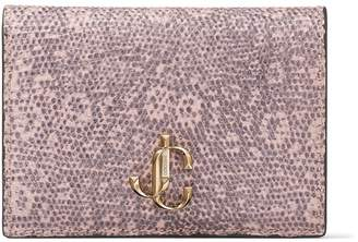Jimmy Choo MYAH Ballet Pink Lizard Print Leather Bi-Fold Wallet with JC logo