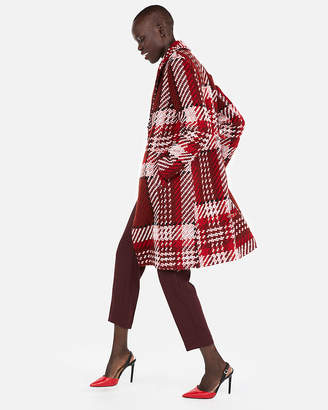 Express Plaid One Button Car Coat