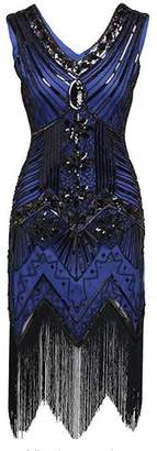 M MAYEVER MAYEVER Retro Flapper Dresses 1920s V Neck Beaded Fringed Gatsby Dress