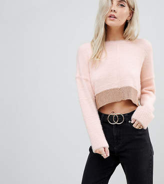 Miss Selfridge Petite Fluffy Colourblock Jumper
