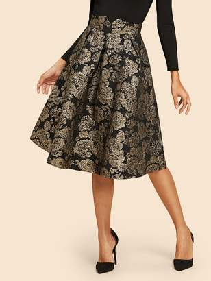 Shein Flare Floral Jacquard Skirt