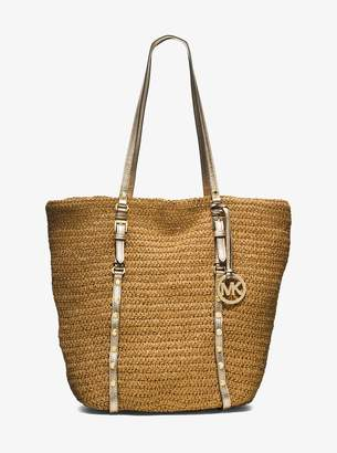 MICHAEL Michael Kors Large Studded Straw Shopper Tote