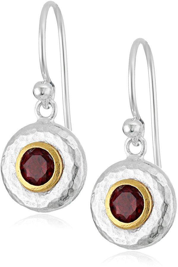 "Gurhan Droplet"" Sterling Garnet Hook Drop Earrings"