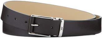 Armani Collezioni Pebbled Leather Belt w/ Rectangle Buckle