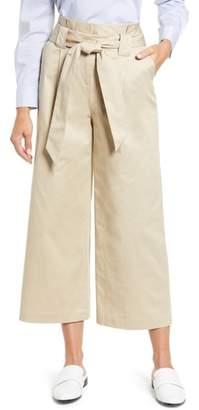 Halogen Paperbag Waist Belted Wide Leg Crop Pants
