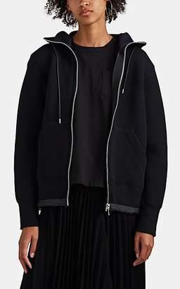 Sacai Women's Neoprene Jersey Zip-Front Hoodie - Black