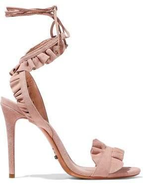 Schutz Irem Ruffled Suede Sandals