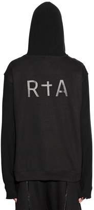 RtA Hooded Cashmere Knit & Cotton Sweatshirt