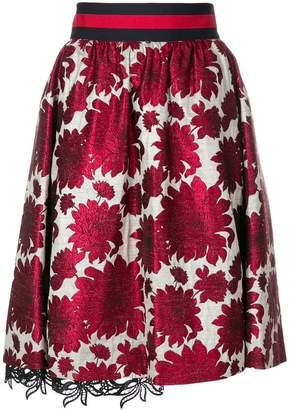Bazar Deluxe floral jacquard A-line skirt