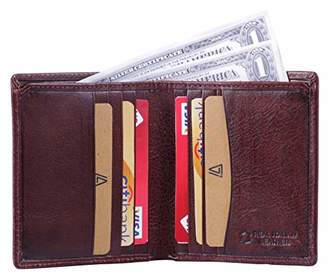 Leather Architect -Men's Real Italian Leather Bifold Wallet with Vertical Credit Card Slots and RFID blocking-