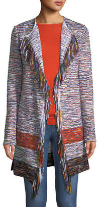 St. John Multi-Tweed Waterfall Cardigan w/ Fringe Trim
