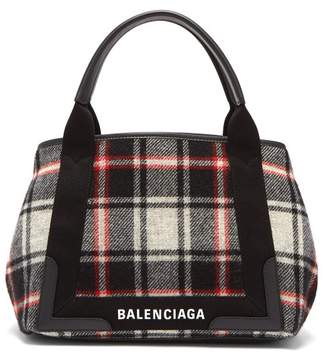 Balenciaga Cabas S Plaid Bag - Womens - Black White