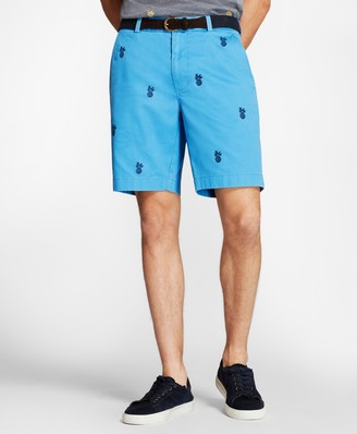 Brooks Brothers Embroidered Pineapple Cotton Twill Shorts