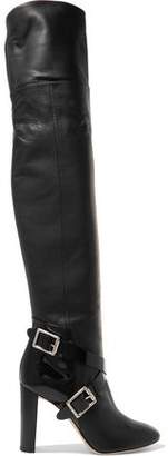 Jimmy Choo Doma Buckled Leather Over-The-Knee Boots