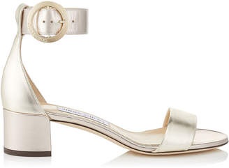 Jimmy Choo JAIMIE 40 Gold Mix Metallic Nappa Leather Sandal with Round Buckle Fastening