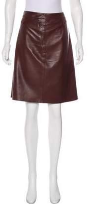 Akris Knee-Length Leather Skirt