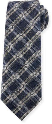 Ermenegildo Zegna Seasonal Plaid Silk-Linen Tie