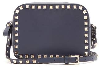 Valentino Rockstud Camera Leather Cross Body Bag - Womens - Navy