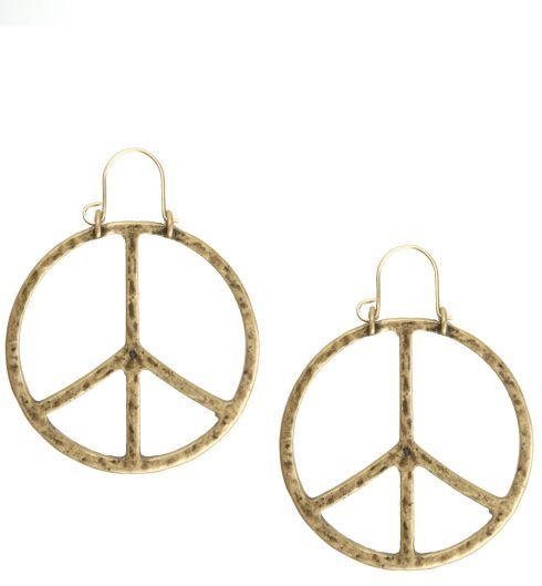 Peace Sign Gold Earrings*
