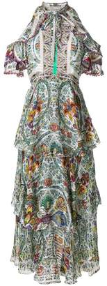 Etro printed ruffled cold shoulder dress