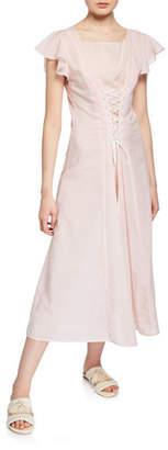Marysia Swim Shelter Lace-Up Cotton Coverup Dress