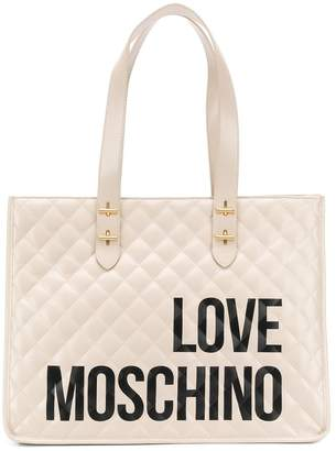 Love Moschino quilted logo print tote