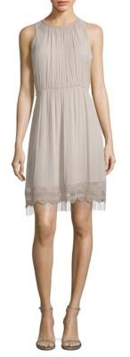 Elie Tahari Demetria Metallic Fringe Accented Roundneck Dress $498 thestylecure.com