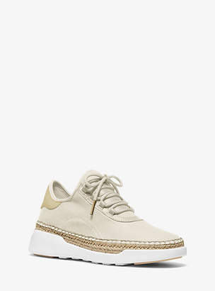 Michael Kors Finch Canvas And Leather Lace-Up Sneaker