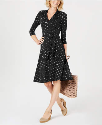 Charter Club Petite Dot-Print Belted Swing Dress