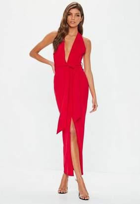 Missguided Red Plunge Tie Waist Midaxi Dress