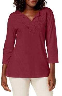 Karen Scott Three-Quarter-Sleeve Soutache Splitneck Top