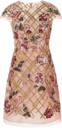 Marchesa Embroidered Tulle A-Line Mini Dress