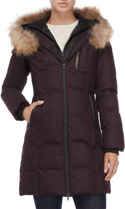 Soia & Kyo Real Fur Trim Bibbed Down Coat