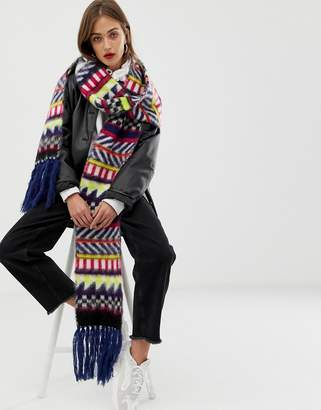 Asos DESIGN jacquard geo knitted scarf with tassels