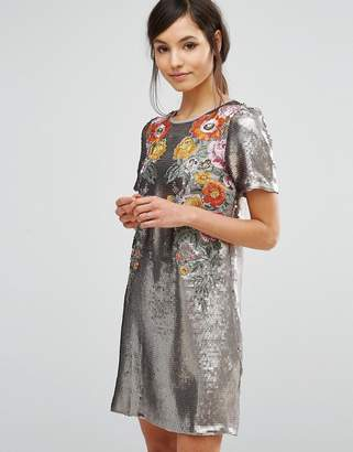 Oasis Premium Sequin Floral Shift Dress $226 thestylecure.com