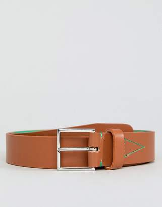 Paul Smith Leather Belt With Fluro Lining In Tan