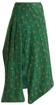 Preen by Thornton Bregazzi Matilda Floral Print Silk Skirt - Womens - Green Multi