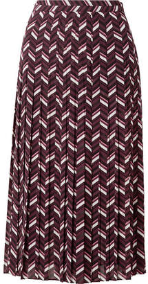 MICHAEL Michael Kors Pleated Printed Georgette Midi Skirt - Purple