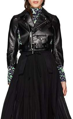 Noir Kei Ninomiya Women's Faux-Leather Crop Moto Jacket