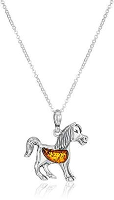 Amber Sterling Silver Horse Pendant Necklace