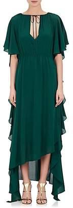 Juan Carlos Obando Women's Short-Sleeve Silk Chiffon Gown - Green