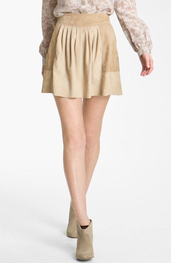 Rebecca Taylor Colorblock Suede Skirt