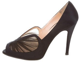 Christian Louboutin Christian Louboutin Chiffon-Accented Peep-Toe Pumps