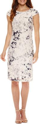 LIZ CLAIBORNE Liz Claiborne Short Sleeve Lace Sheath Dress $86 thestylecure.com
