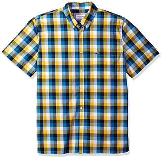 Lacoste Men's Short Sleeve Poplin Check Button Down Collar Reg Fit Woven Shirt