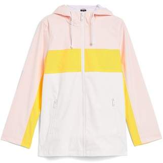 Topshop Colorblock Rain Mac Jacket