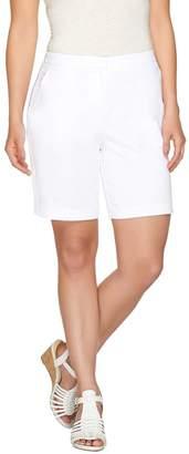 Susan Graver Cotton Sateen Comfort Waist Back Zip Front Shorts