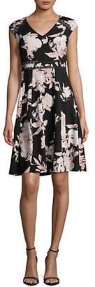 Karl Lagerfeld PARIS Floral Lace-Trimmed Dress