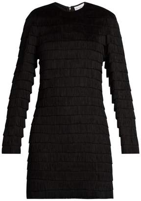 Raey - Long Sleeved Fringed Dress - Womens - Black